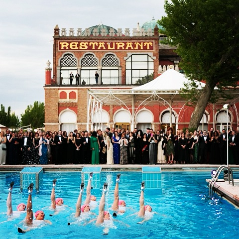 Aquabatix synchronised swimmers perform in heels in Venice