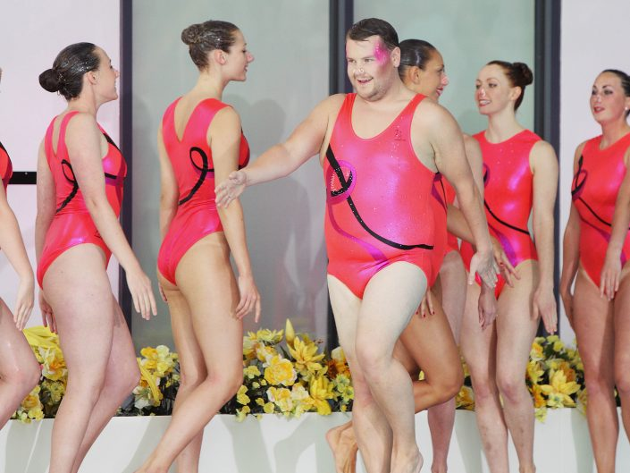 James Corden leads Aquabatix for synchronised swimming challenge
