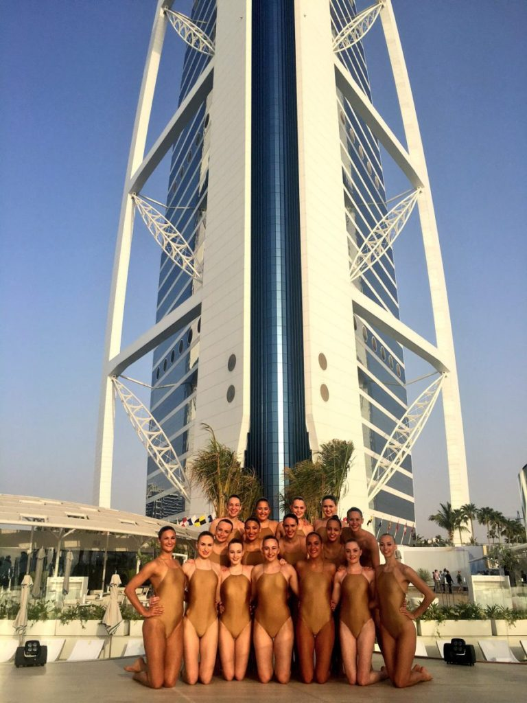 Aquabatix synchronised swimmers launch The Terrace Burj Al Arab UAE