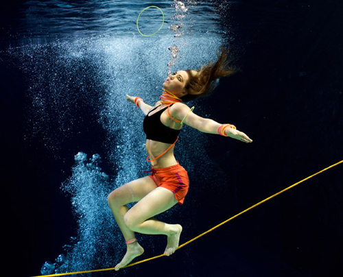 Aquabatix underwater model tightrope walking underwater shoot