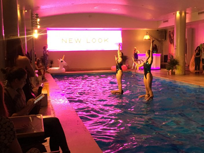 Aquabatix synchronised swimming team perform at New Look pool party swimwear launch