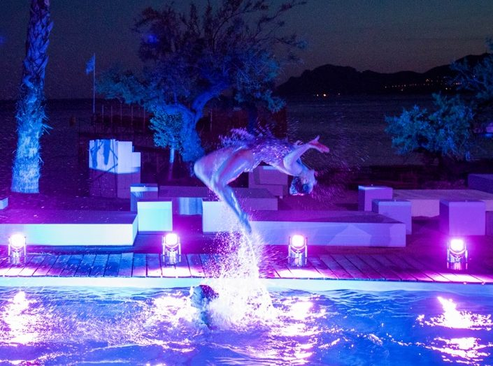 Back flip by Aquabatix synchronised swimmers in Cannes