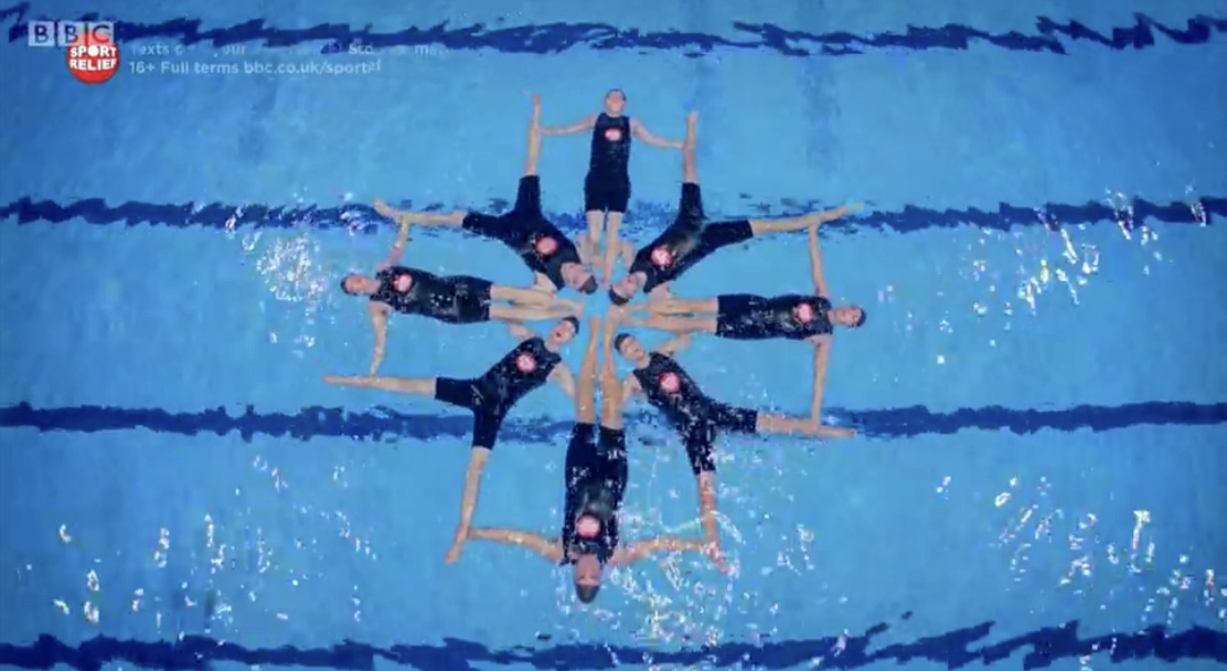 Synchronised swimming formation swimming with men cast sport relief