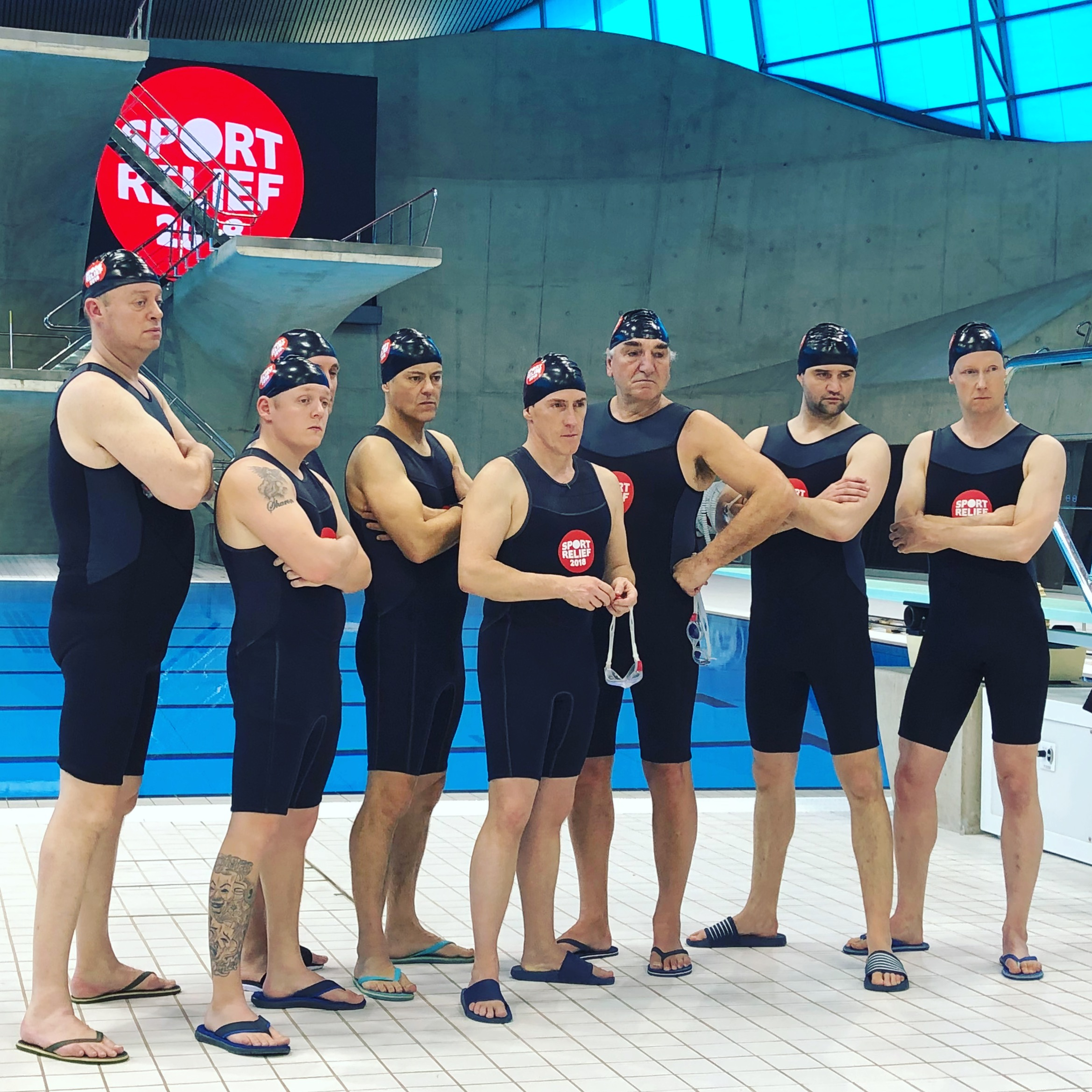Swimming With Men cast filming Sport Relief 2018