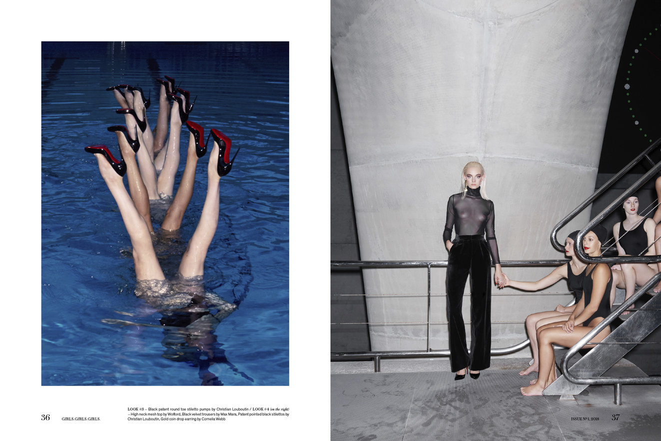 Aquabatix synchronised swimmers wearing Louboutins in the pool