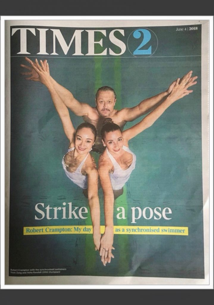Aquabatix synchronised swimmers on the cover of The Times