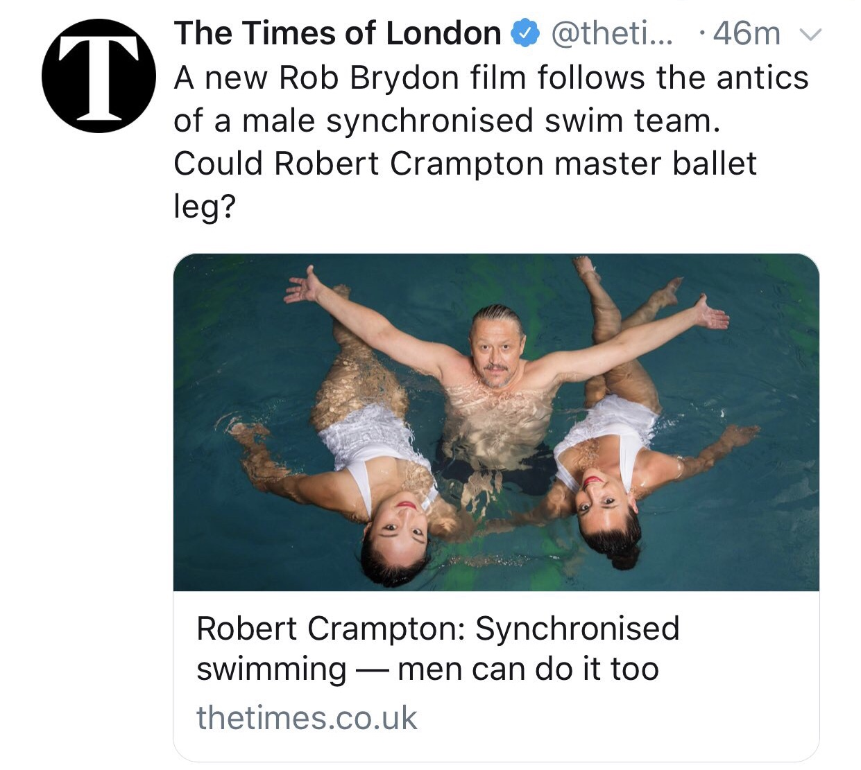 Rob Brydon movie Swimming With Men inspires Robert Crampton