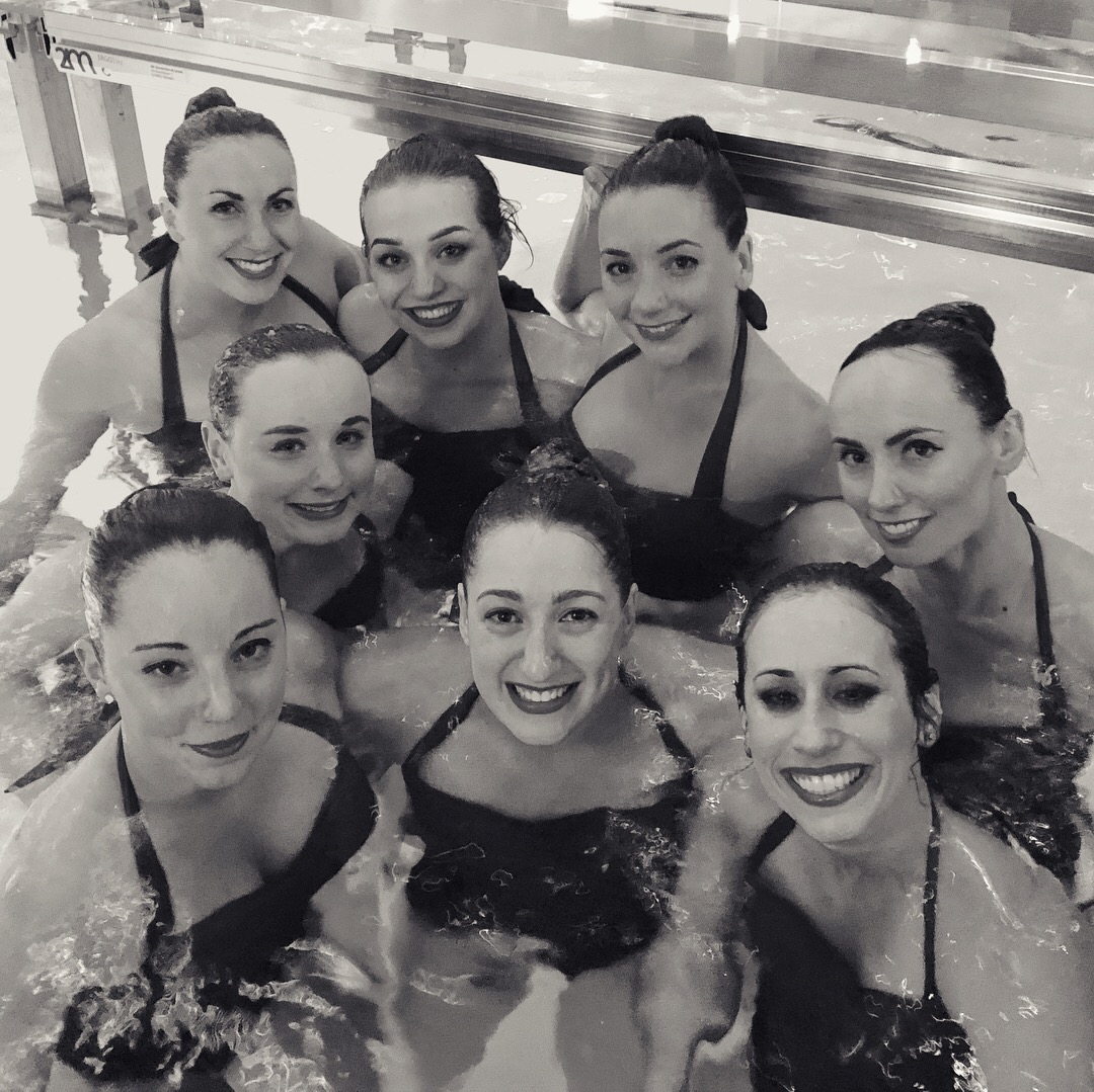 Aquabatix synchronised swimmers after performing at Piscine Molitor