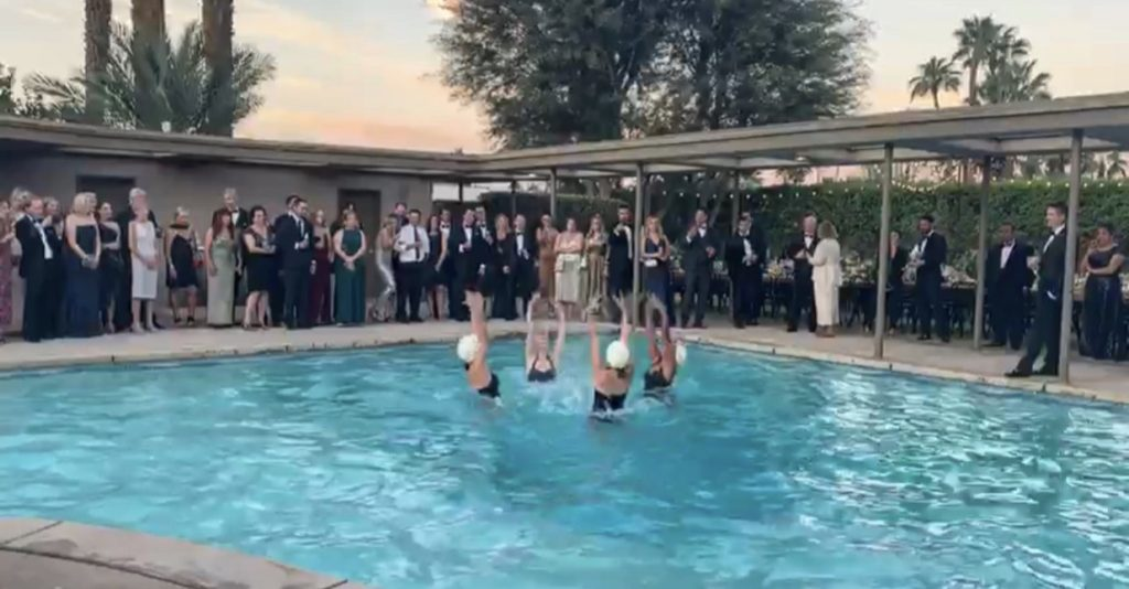 Aquabatix synchronized swimmers at Frank Sinatra's Twin Palms in Palm Springs