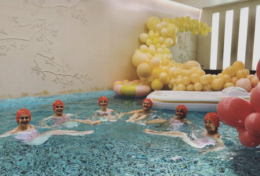 Koibird resot 2020 pool party with Aquabatix synchronised swimming troupe
