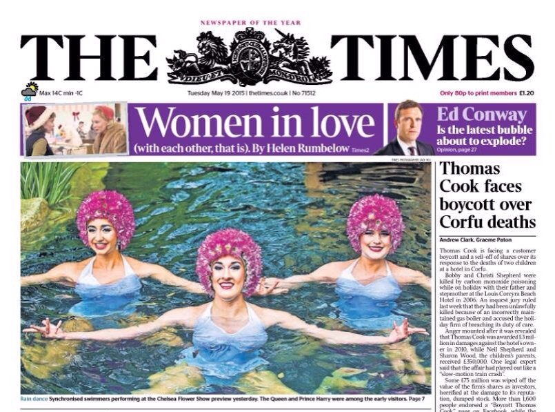 The Times cover with Aquabatix synchronised swimming team at the Chelsea Flower Show