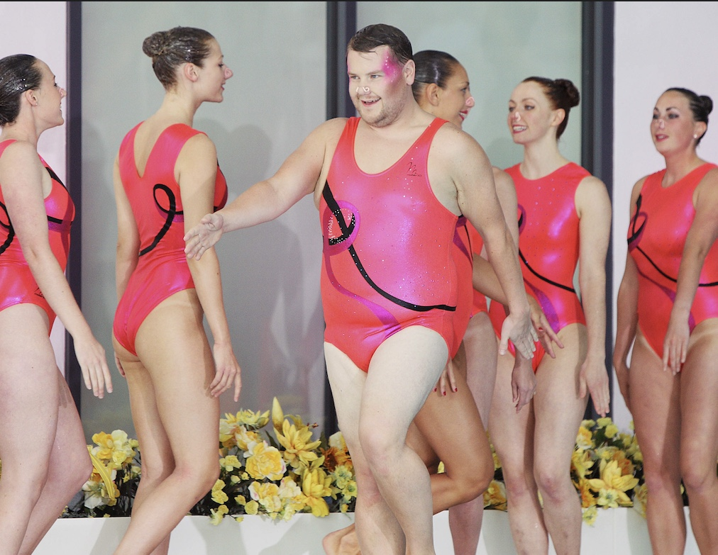 James Corden with synchronised swimming team Aquabatix