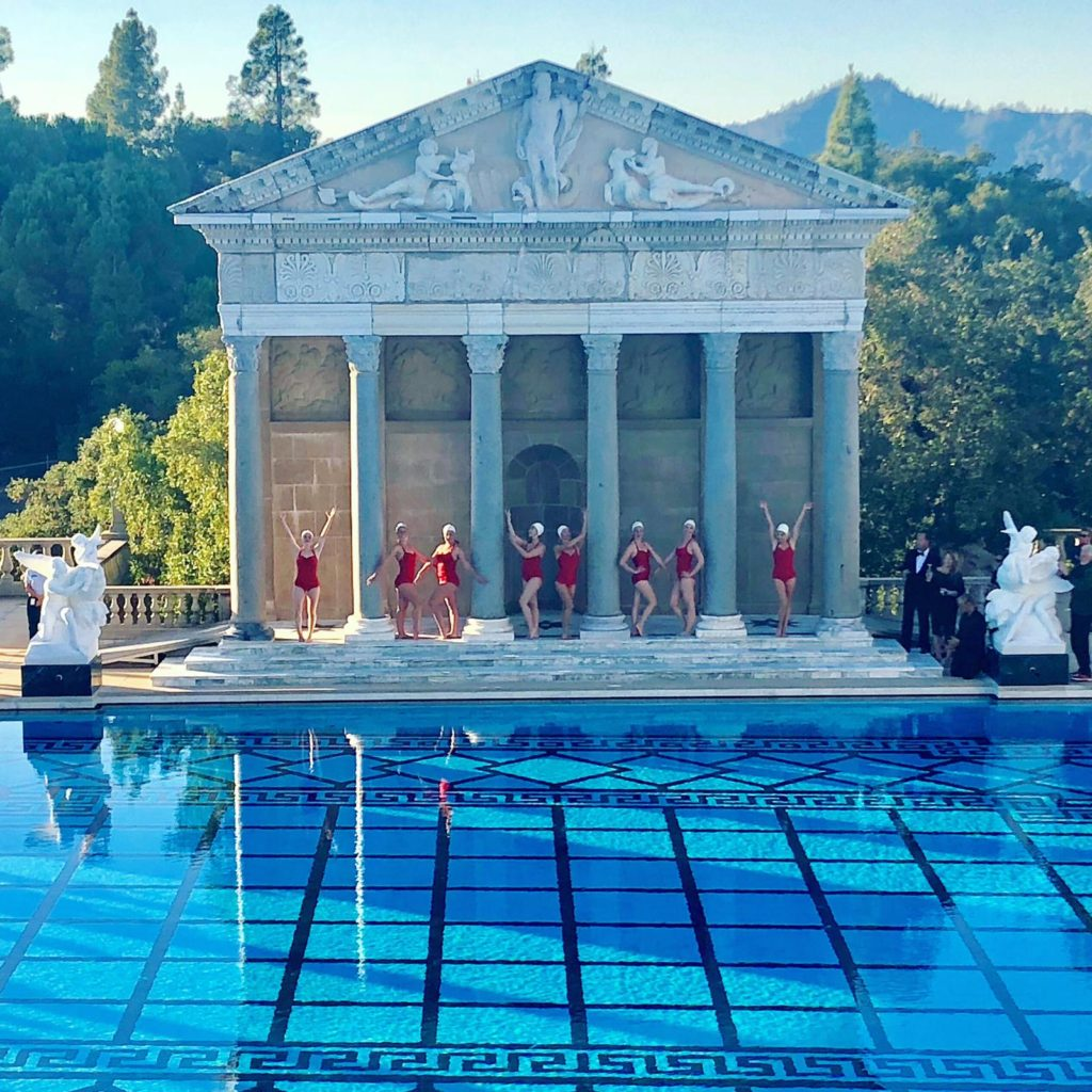 Aquabatix USA synchronized swimmers perform at Hearst Castle