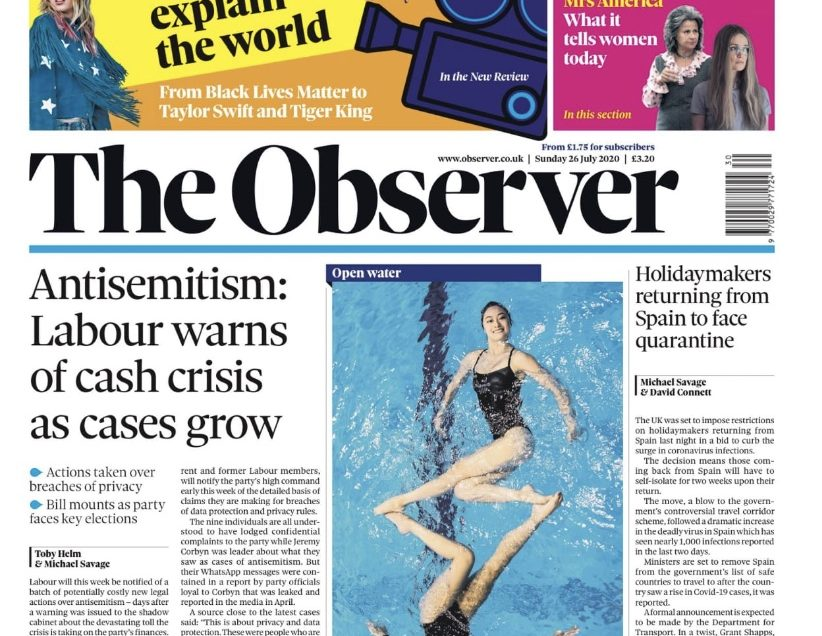 Aquabatix synchronised swimmers front page The Observer