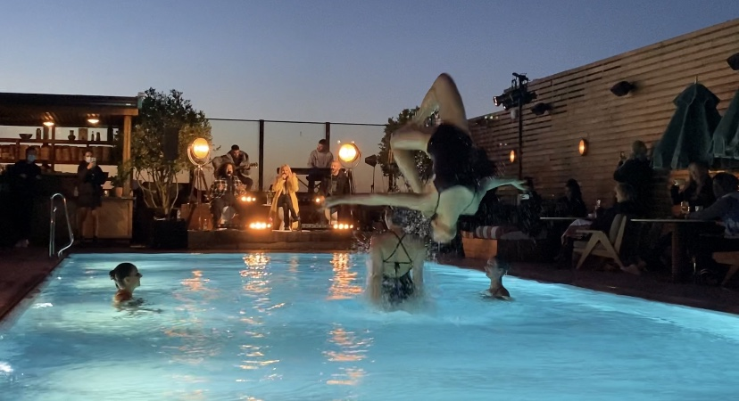 Aquabatix synchronised swimming team perform live with Mabel at Soho House