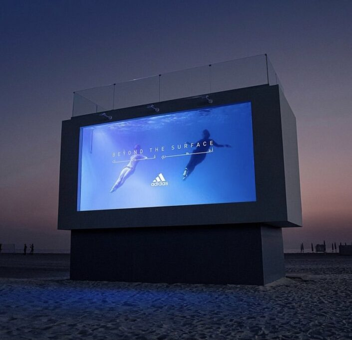 Synchronised swimmers perform underwater routines by Aquabatix for the Adidas Beyond The Surface stunt in Dubai