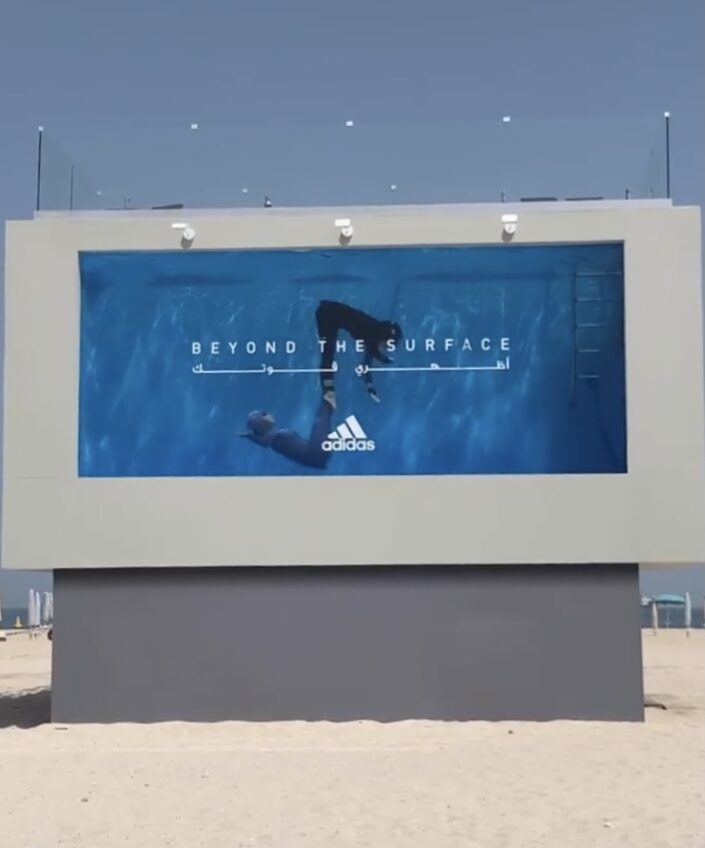 Synchronised swimmers perform Aquabatix underwater routines for Adidas Beyond The Surface stunt in Dubai